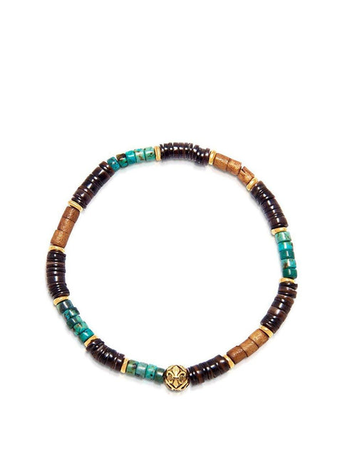 Men's Wristband with African Jade and Brown Heishi Beads