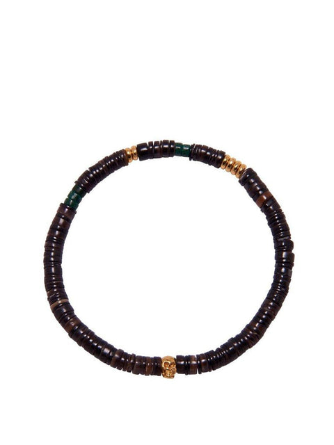 Men's Wristband with Brown and Gold Heishi Beads