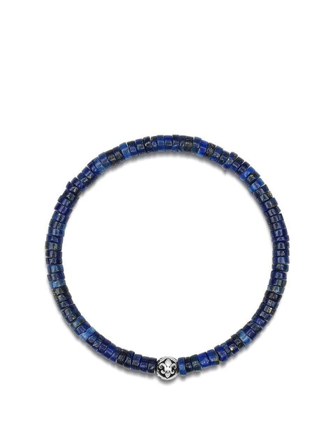 Men's Wristband with Blue Lapis Heishi Beads and Silver - Nialaya Jewelry