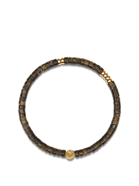 Men's Wristband with Brown Heishi Beads and Gold - Nialaya Jewelry