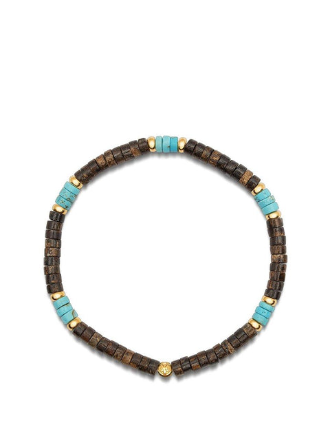 Men's Wristband with Turquoise and Coconut Heishi Beads and Gold - Nialaya Jewelry