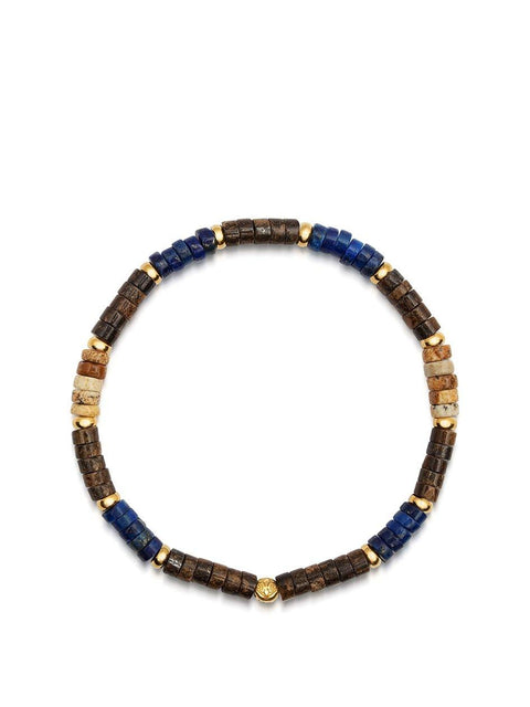 Men's Wristband with Blue Lapis, Jasper and Coconut Heishi Beads and Gold - Nialaya Jewelry