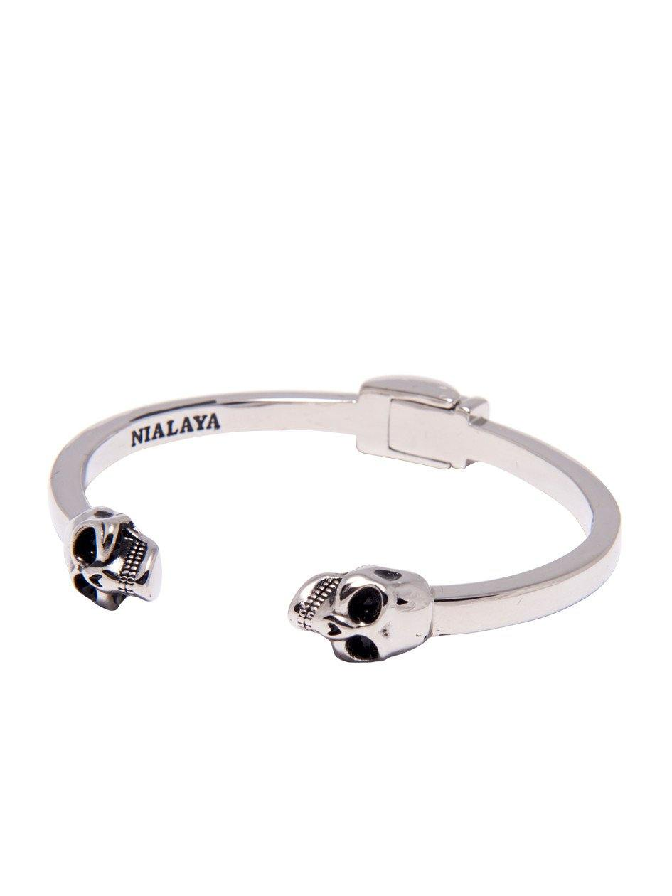Men's Silver Skull Bangle - Nialaya Jewelry  - 1