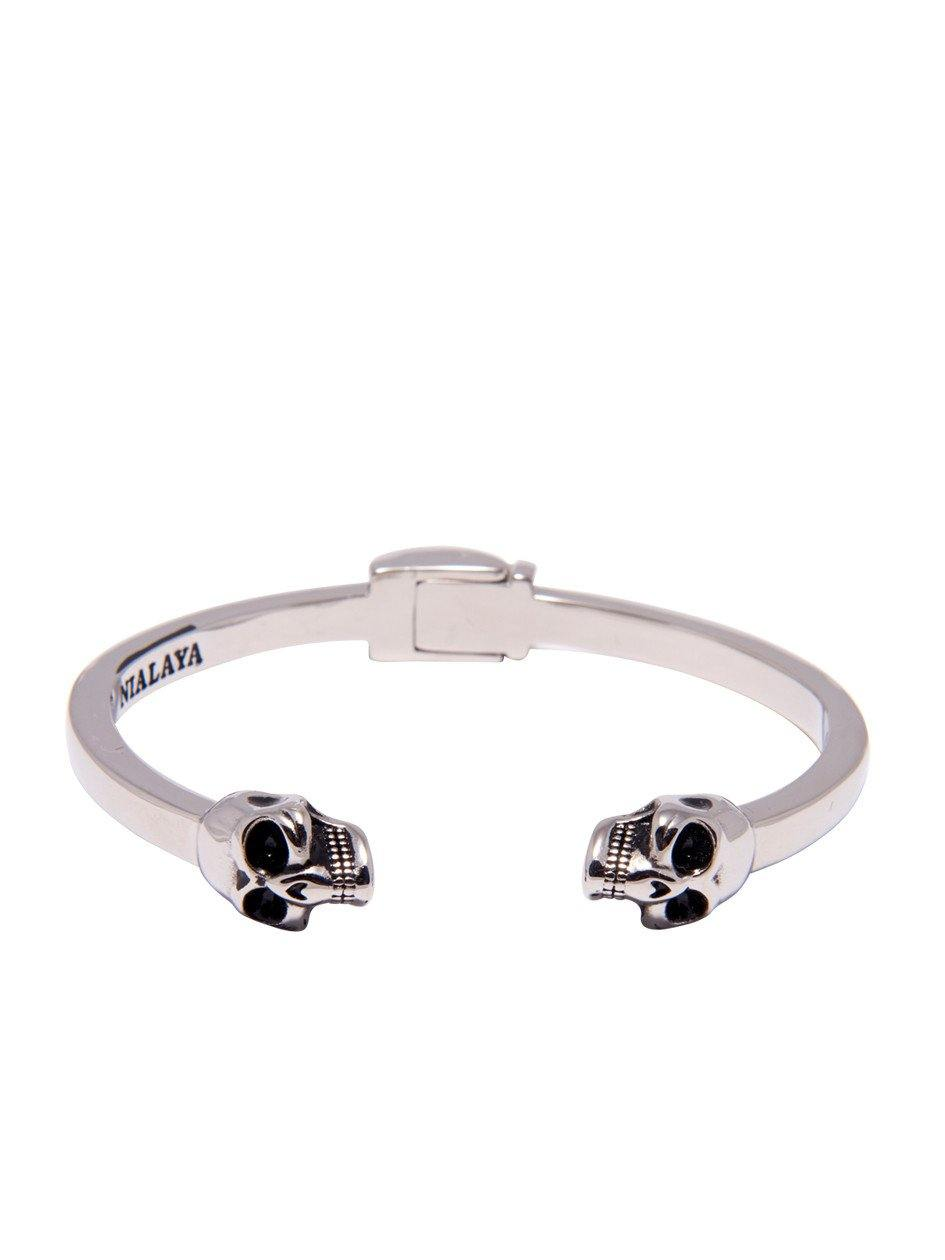 Nialaya Silver Skull Bangle