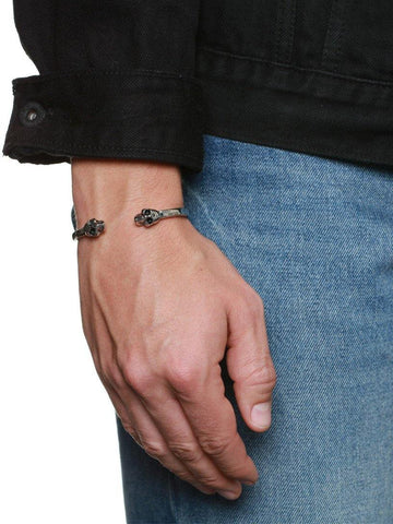 Men's Silver Skull Bangle - Nialaya Jewelry  - 4