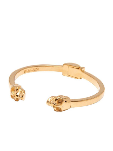 Men's Gold Skull Bangle - Nialaya Jewelry  - 1