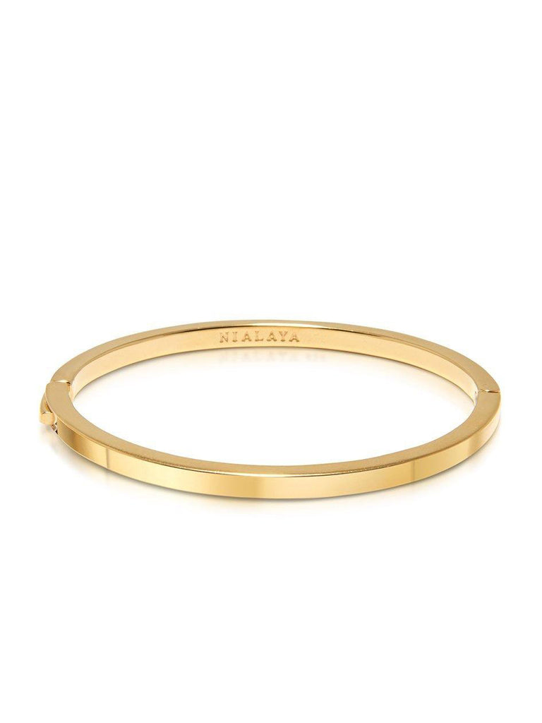 Men's Gold Simplicity Bangle - NIALAYA INC