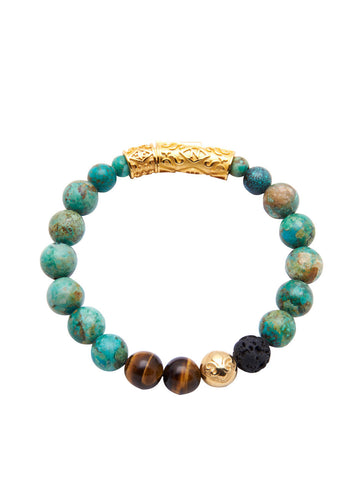 Men's Beaded Bracelet with Bali Turquoise, Brown Tiger Eye, Lava Stone and Gold