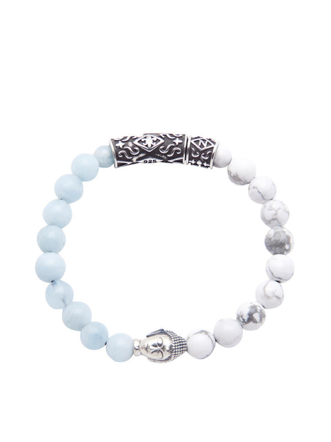 Men's Beaded Bracelet with Howlite, Aquamarine and Silver Buddha - Nialaya Jewelry  - 1