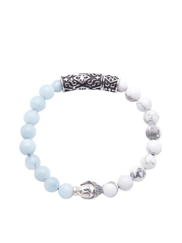 Men's Beaded Bracelet with Howlite, Aquamarine and Silver Buddha