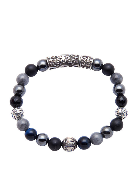 Men's Beaded Bracelet with Hematite, Matte Onyx, Blue Tiger Eye and Rose Cut Diamond - Nialaya Jewelry  - 1