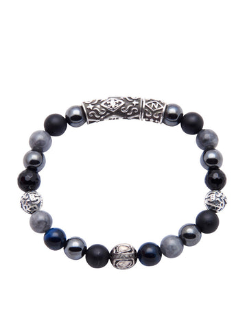 Men's Beaded Bracelet with Hematite, Matte Onyx, Blue Tiger Eye and Rose Cut Diamond