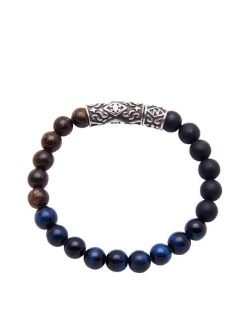 Men's Beaded Bracelet with Bronzite, Blue Tiger Eye and Matte Onyx