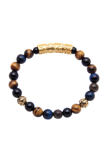 Men's Beaded Bracelet with Tiger Eye, Agate, Bronzite and Indian Gold