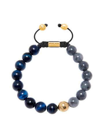 Men's Beaded Bracelet with Blue Tiger Eye and Black Jade