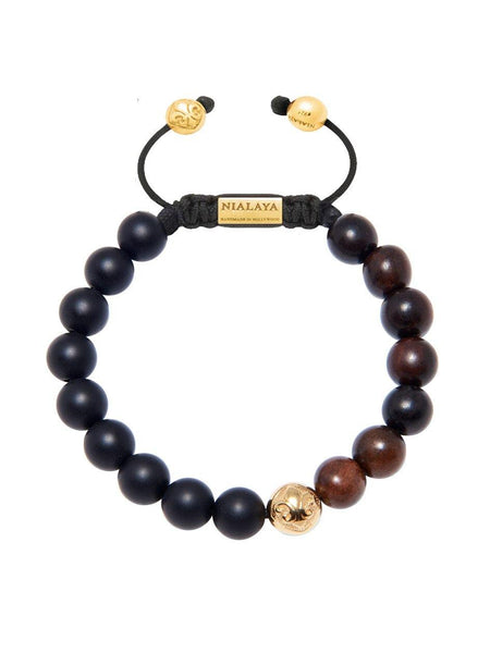 Men's Beaded Bracelet with Matte Onyx and Ebony - Nialaya Jewelry