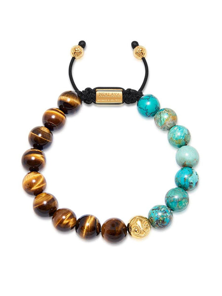 Men's Beaded Bracelet with Brown Tiger Eye and Bali Turqouise - Nialaya Jewelry