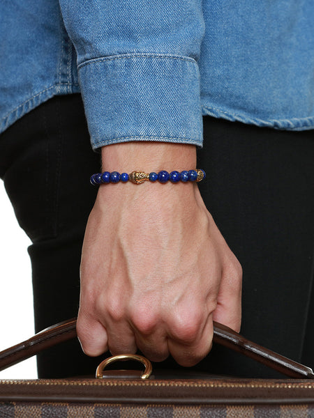 Men's Beaded Bracelet with Blue Lapis and Gold Buddha - Nialaya Jewelry  - 2