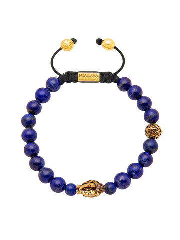 Men's Beaded Bracelet with Blue Lapis and Gold Buddha