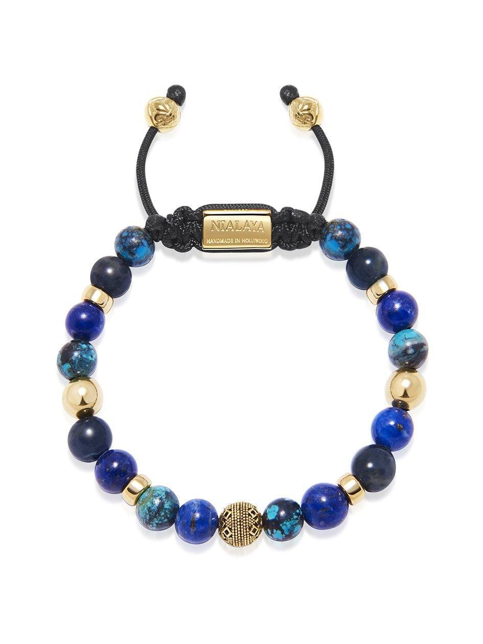 Men's Beaded Bracelet with Blue Lapis, Blue Dumortierite and Bali Turquoise