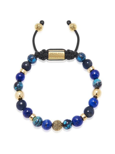 Men's Beaded Bracelet with Blue Lapis, Blue Dumortierite and Bali Turquoise - Nialaya Jewelry