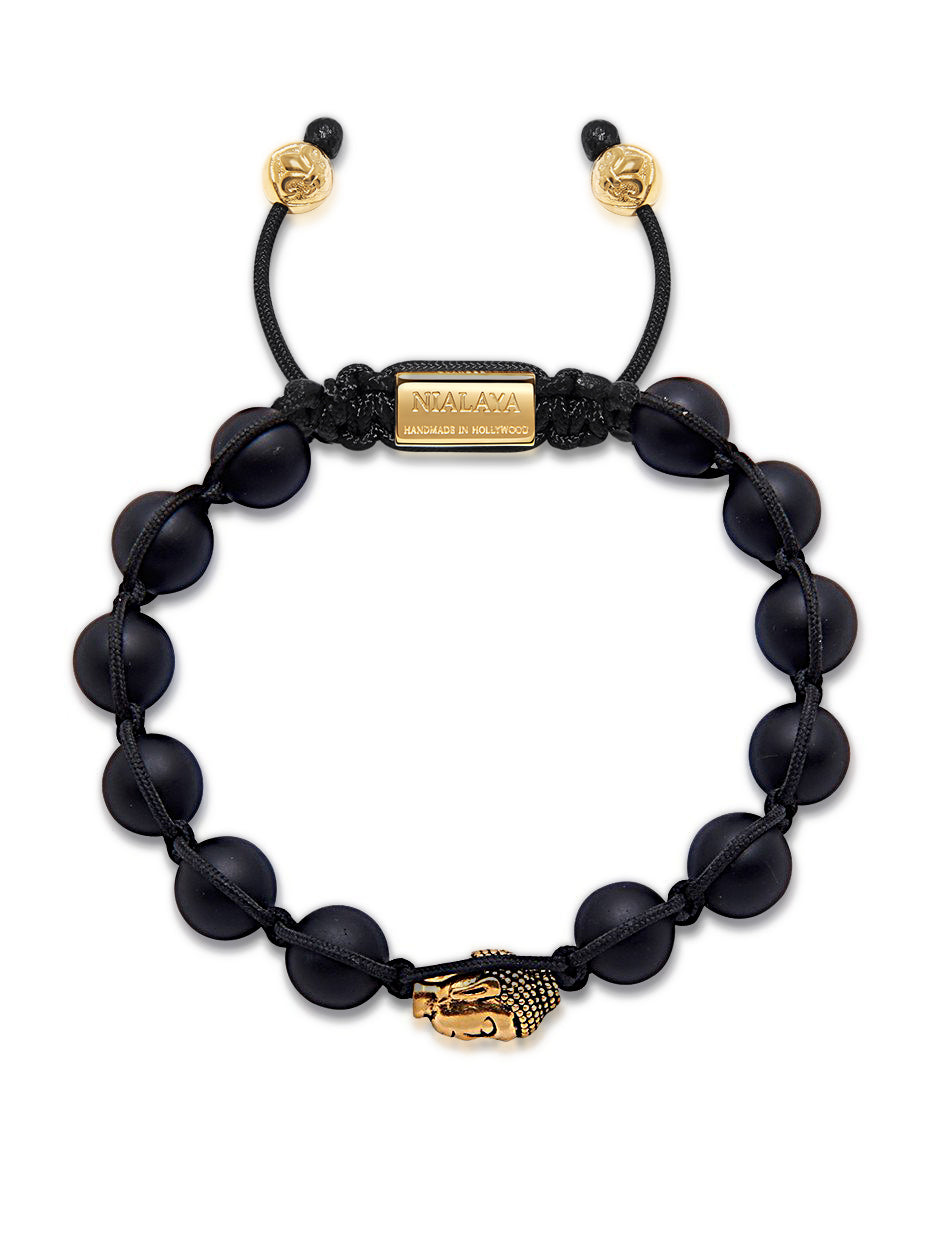 Nialaya Beaded Bracelet with Matte Tiger Eye, Matte Onyx, and Gold - Extra Large