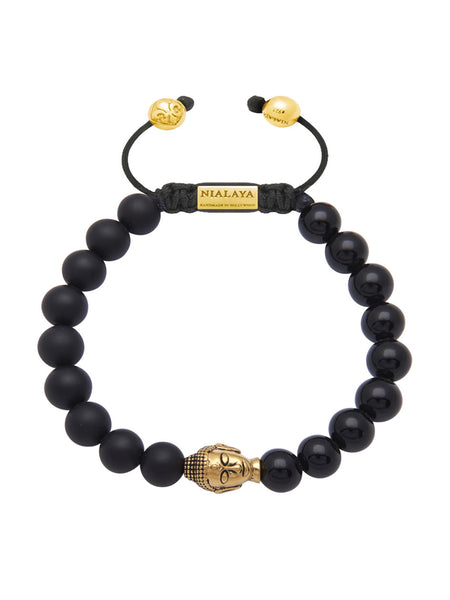 Men's Gold Buddha Head, Matte Onyx and Agate - Nialaya Jewelry