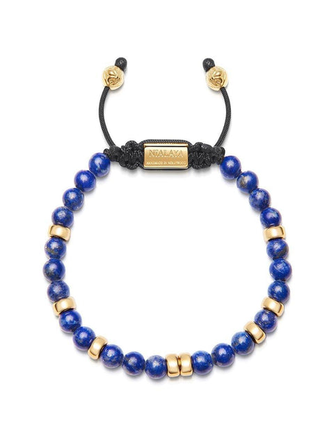 Men's Beaded Bracelet with Blue Lapis and Gold - Nialaya Jewelry