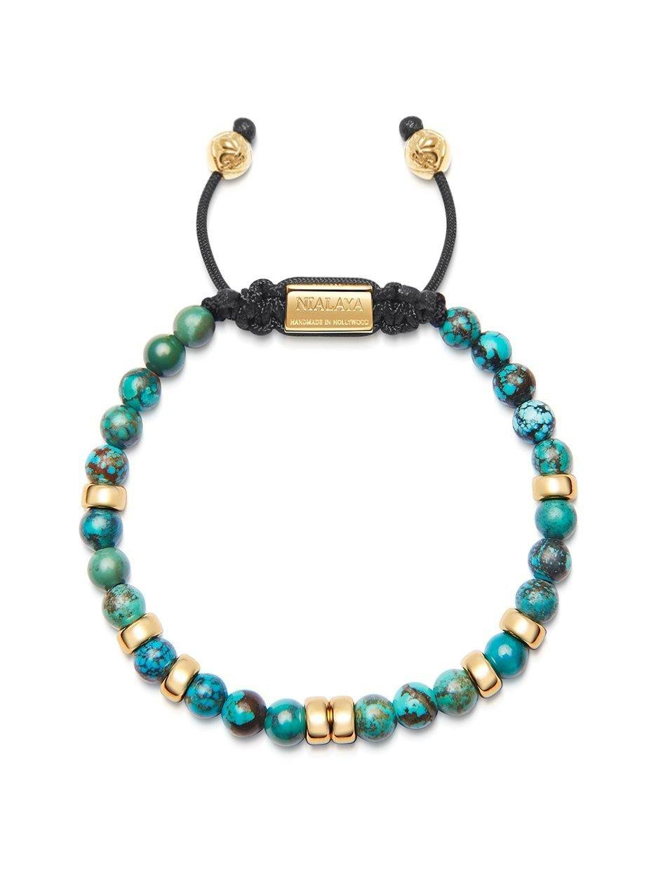Men's Beaded Bracelet with Bali Turquoise and Gold - Nialaya Jewelry