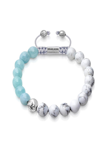 Men's Beaded Bracelet with Howlite and Aquamarine