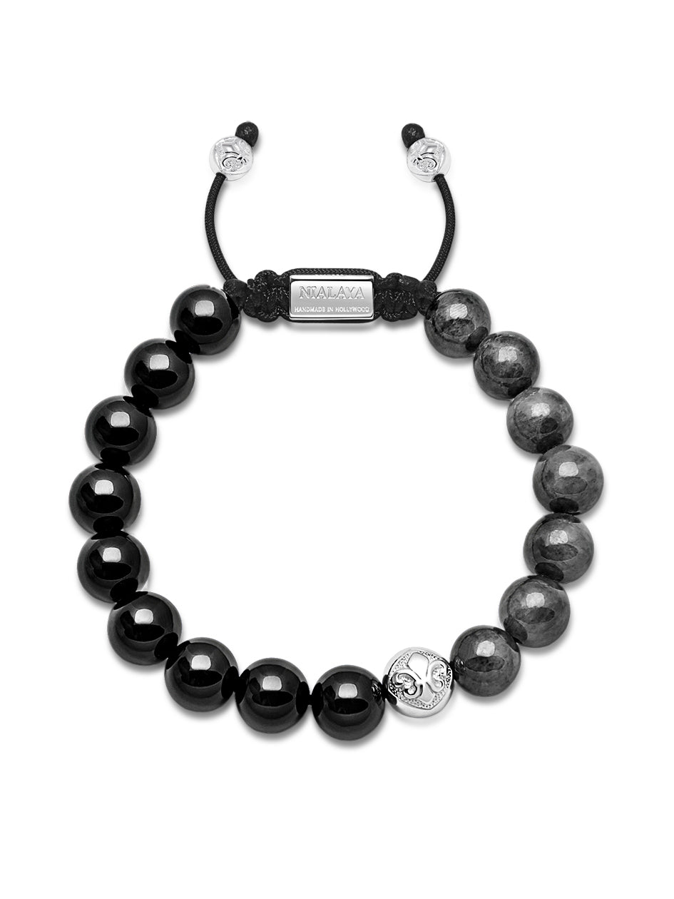 Men's Beaded Bracelet with Silver and Agate