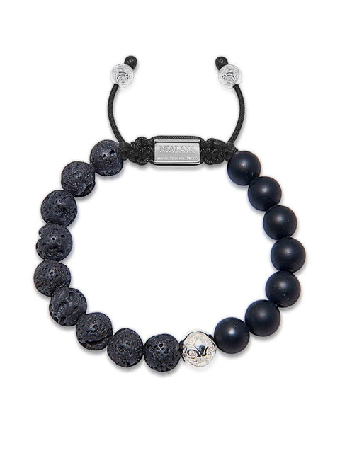Men's Beaded Bracelet with Matte Onyx and Lava Stone - NIALAYA INC