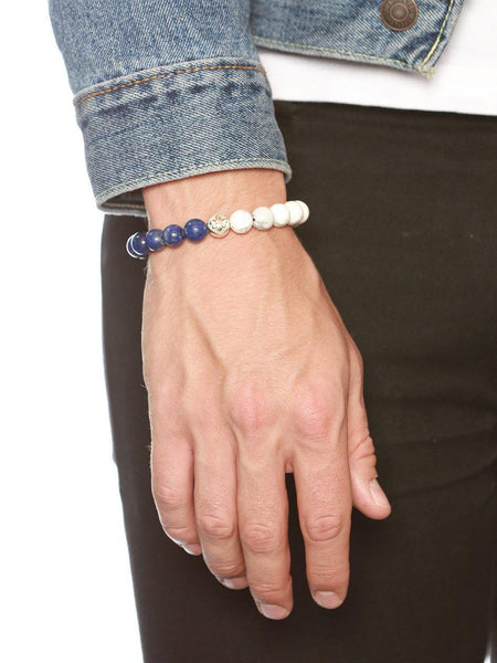 Men's Beaded Bracelet with Blue Lapis and Howlite - Nialaya Jewelry  - 2