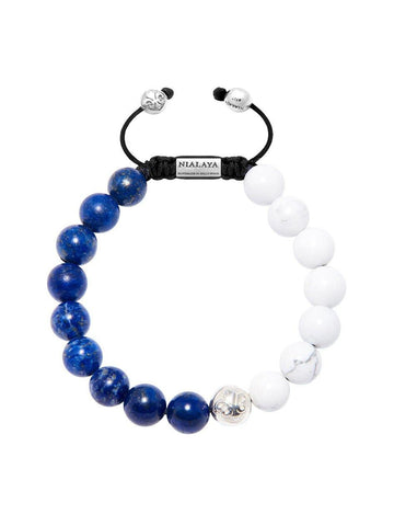 Men's Beaded Bracelet with Blue Lapis and Howlite - Nialaya Jewelry  - 1