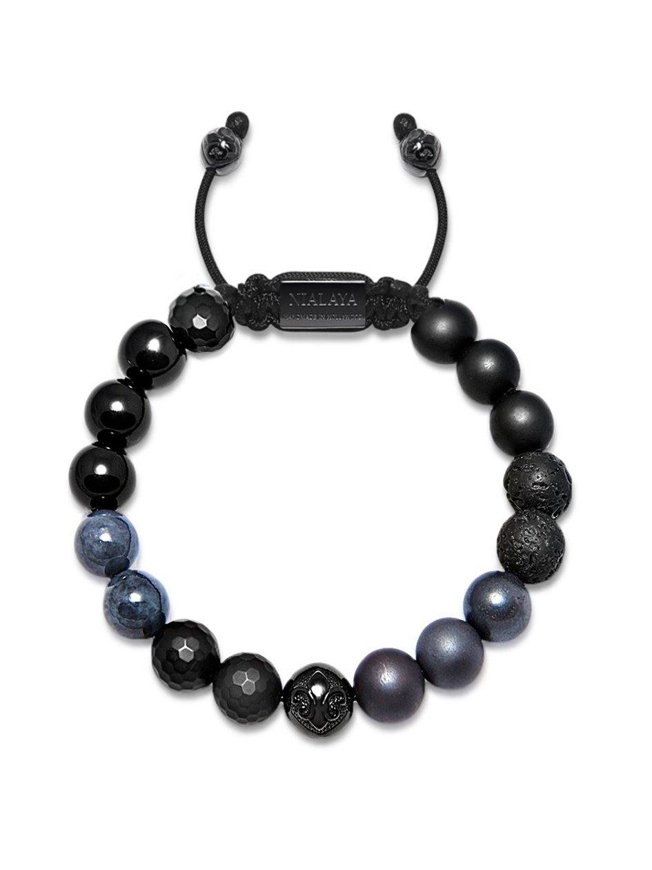 Men's Beaded Bracelet with Matte Onyx, Lava Stone and Black Agate
