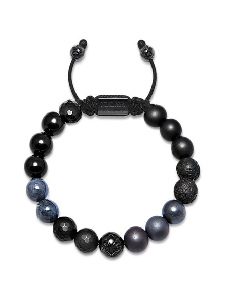Men's Beaded Bracelet with Matte Onyx, Lava Stone and Black Agate - Nialaya Jewelry