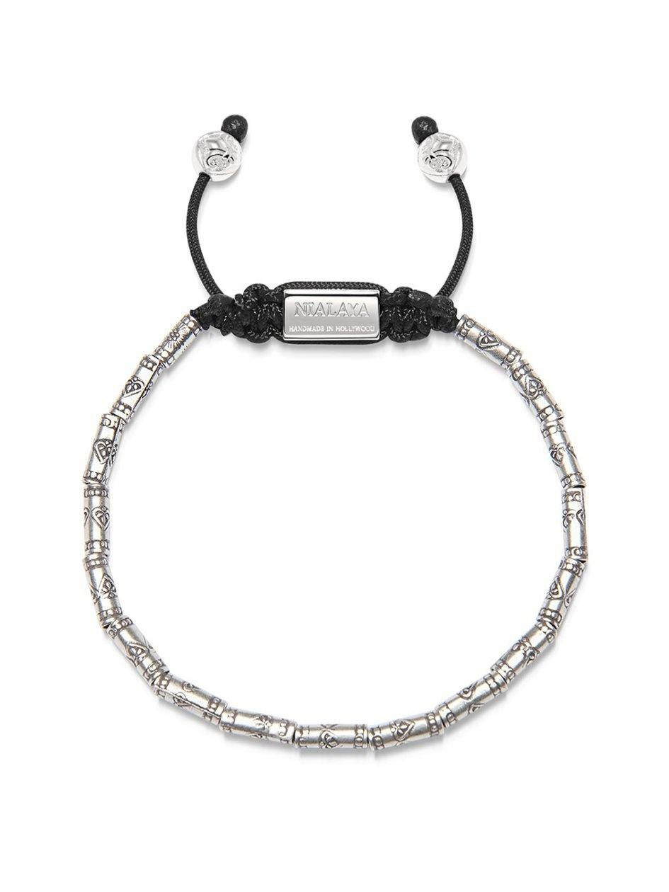 Men's Beaded Bracelet with Sterling Silver Tube Beads - Nialaya Jewelry