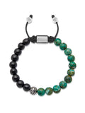 Men's Beaded Bracelet with Ebony, Bali Turquoise and Indian Silver - Nialaya Jewelry  - 1