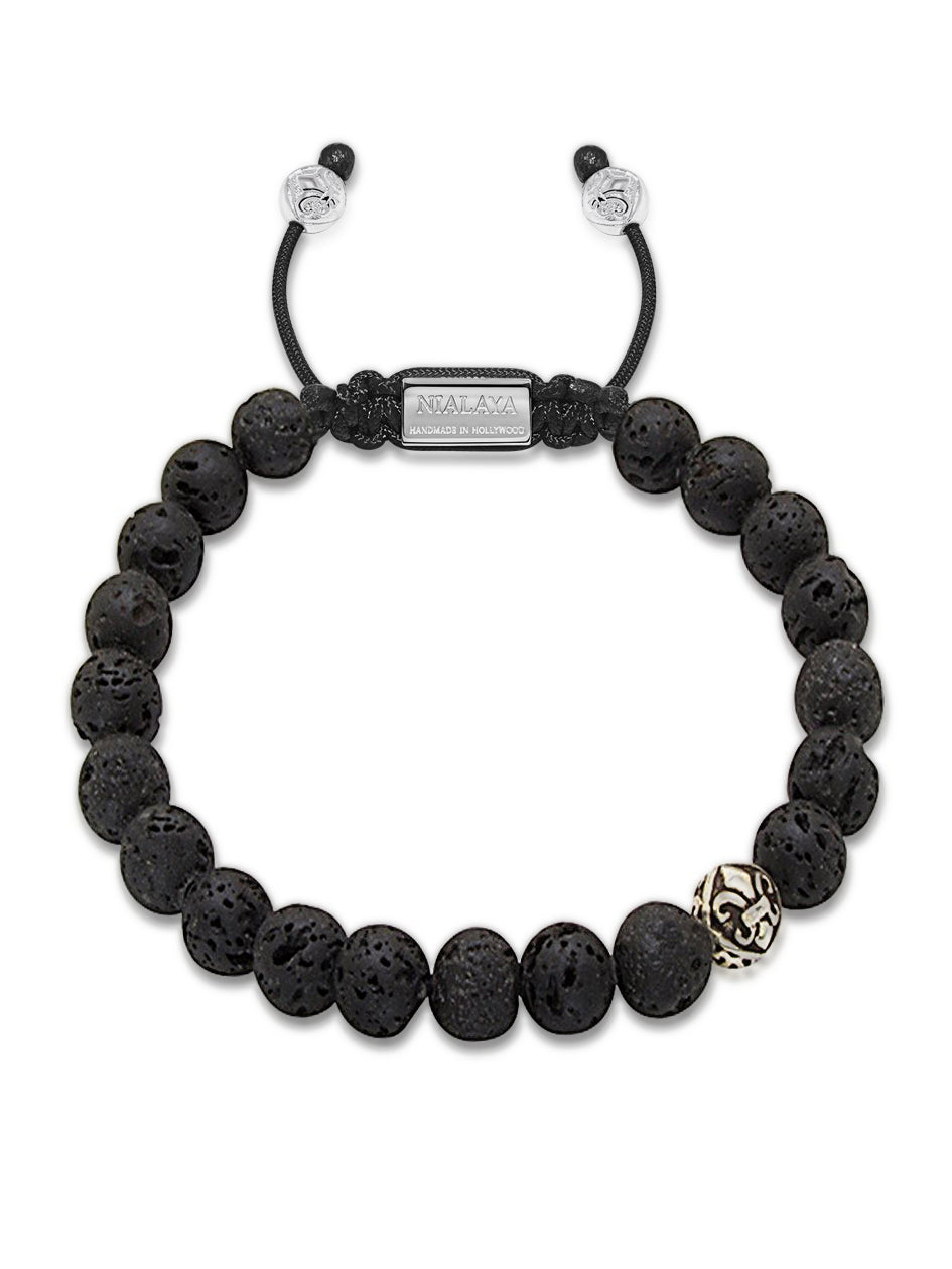 Men's Beaded Bracelet with Lava Stone and Silver