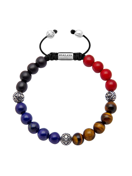 Men's Beaded Bracelet with Ebony, Blue Lapis, Tiger Eye, Red Coral and Indian Silver - Nialaya Jewelry  - 1