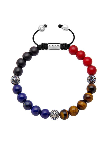 Men's Beaded Bracelet with Ebony, Blue Lapis, Tiger Eye, Red Coral and Indian Silver