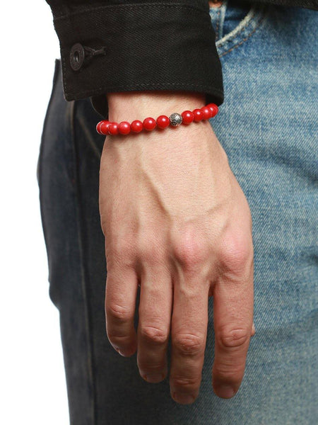 Men's Bayon Beaded Bracelet with Red Coral - Nialaya Jewelry  - 2