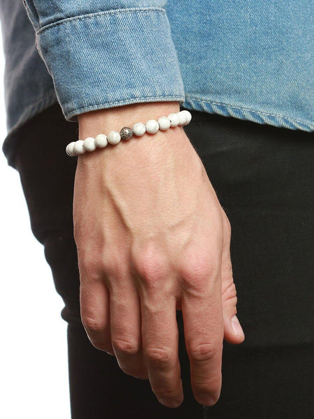 Men's Bayon Beaded Bracelet with Howlite - Nialaya Jewelry  - 2