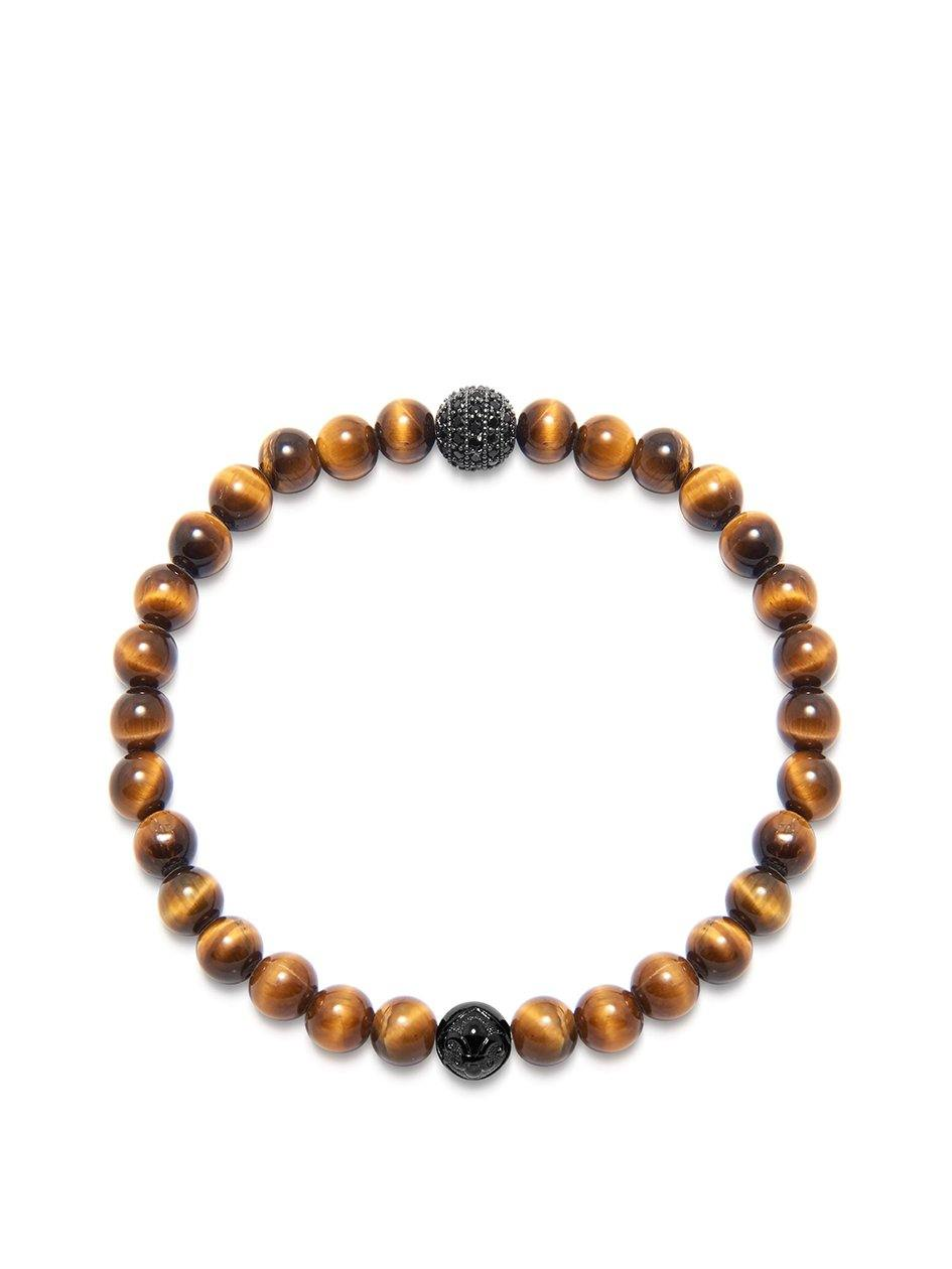Men's Wristband with Brown Tiger Eye and Black CZ Diamond - Nialaya Jewelry