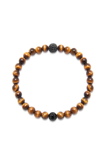 Men's Wristband with Brown Tiger Eye and Black CZ Diamond