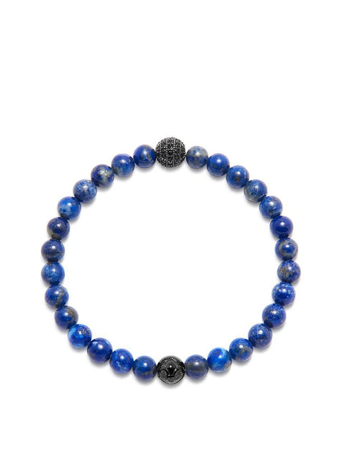 Men's Wristband with Blue Lapis and Black CZ Diamond - Nialaya Jewelry