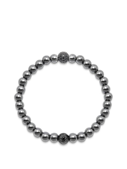 Men's Wristband with Hematite and Black CZ Diamond