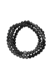 Nialaya Men's Bracelets - Men's Wrap-Around Bracelet with Lava Stone, Hematite and Agate