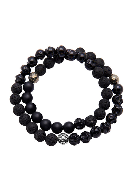 Men's Wrap-Around Bracelet with Lava Stone, Agate, Onyx and Indian Silver - Nialaya Jewelry  - 1