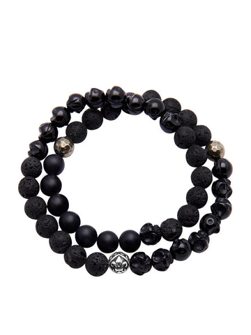 Men's Wrap-Around Bracelet with Lava Stone, Agate, Onyx and Indian Silver